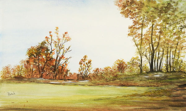 Meadow Landscape Watercolor Painting