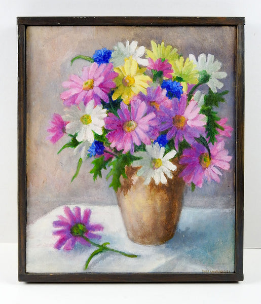 Pink & White Daisy Still Life Painting
