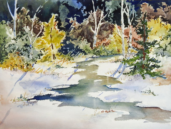 Sunlit Forest Stream Watercolor Painting