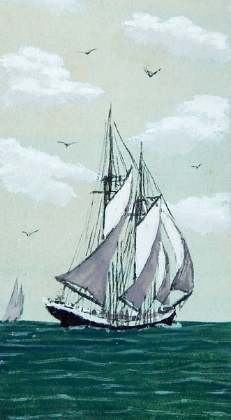 Tiny Watercolor Painting of Sailing Ship