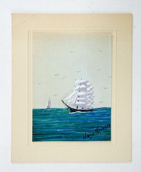 Tiny Sailing Ship Watercolor Painting