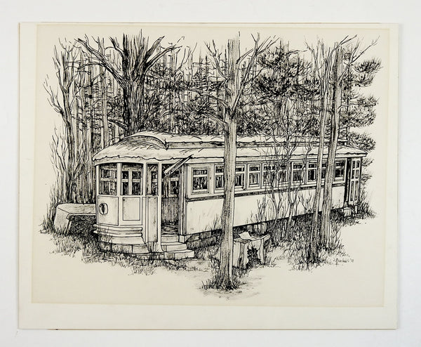 Abandoned Street Car Pen & Ink Drawing
