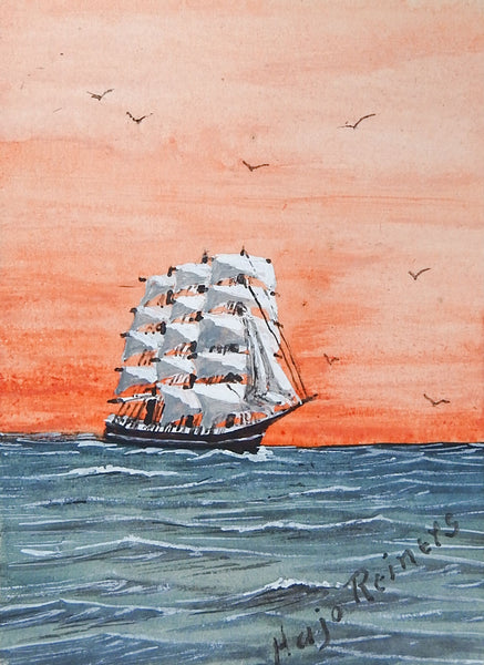 Tiny Sailing Ship At Sunset Watercolor Painting