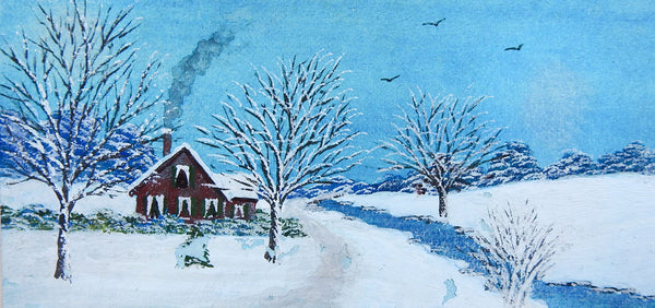 Tiny Snow Covered Red Farmhouse Watercolor Painting