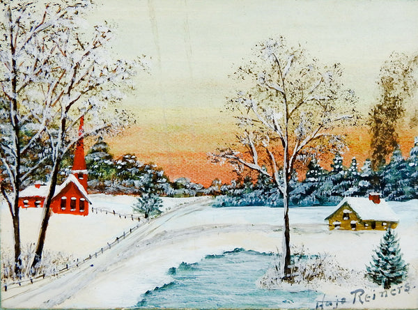 Tiny Snow Covered Church Watercolor Painting