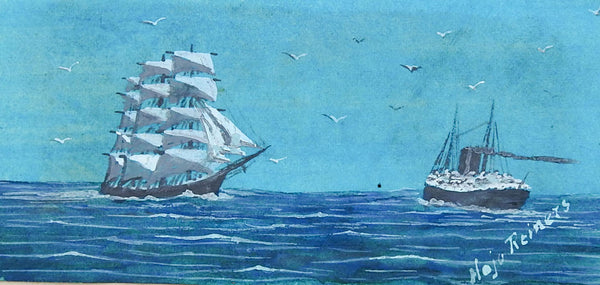 Tiny Sailing Ship & Steamship Watercolor Painting