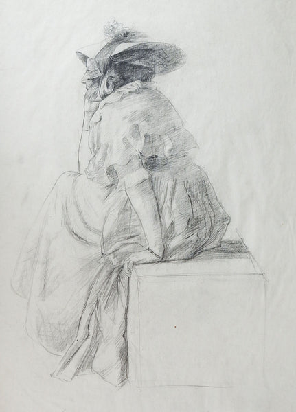 19th Century Woman In Bonnet Drawing