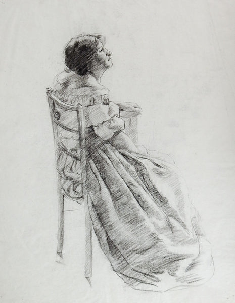 19th Century Seated Woman Drawing