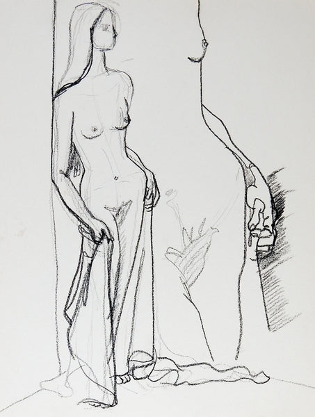 Mid Century Nude Drawing of Woman
