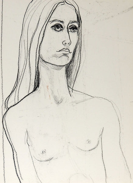 Mid Century Nude Study Drawing of Woman