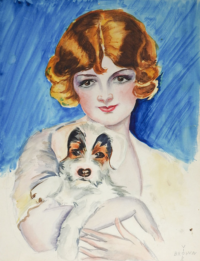 1920's Flapper Girl & Puppy Watercolor Painting