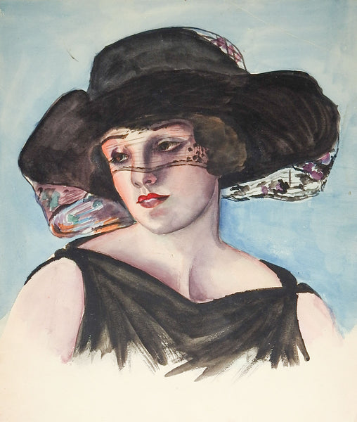 1920's Woman In Black Watercolor Portrait Painting