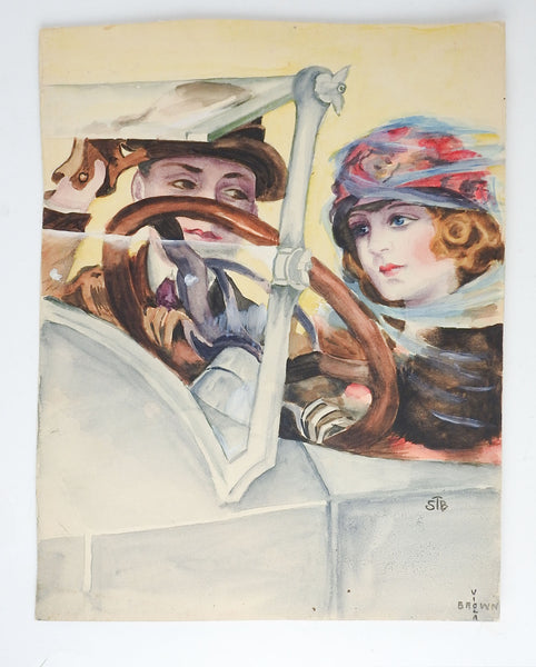 1920's Watercolor Painting Couple Driving Car