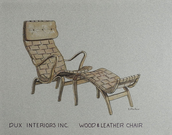 Drawing of Bruno Mathsson Wood & Leather Chair