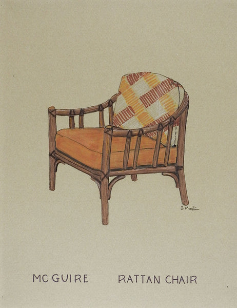 Drawing of McGuire Rattan Chair