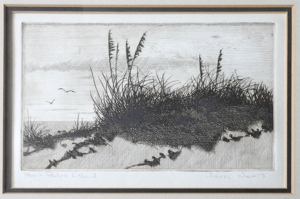 Padre Island Etching By Jerry Weers
