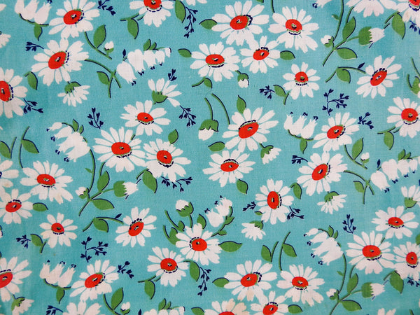 4 Yards Vintage Cotton Turquoise & Daisies Fabric