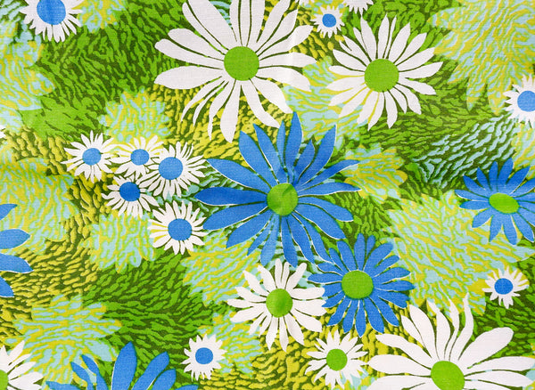 Upholstery or Drapery Weight Retro Sateen Daisies 3 Yards
