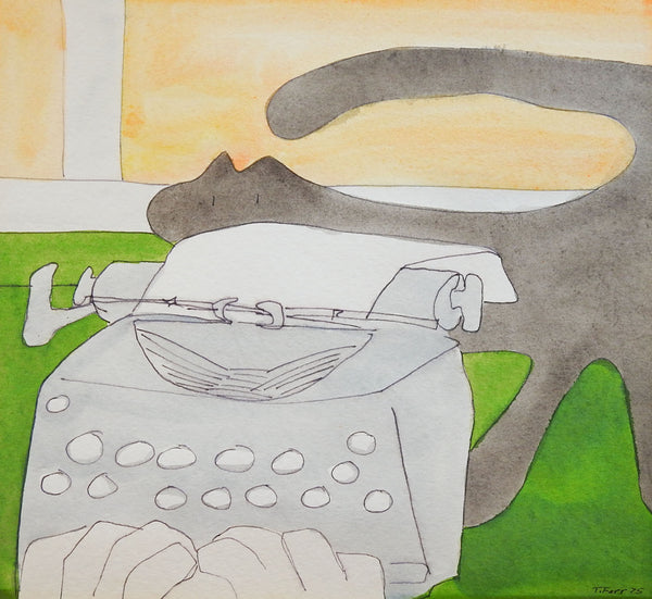Cat vs. Typewriter Teresa Farr Watercolor Painting