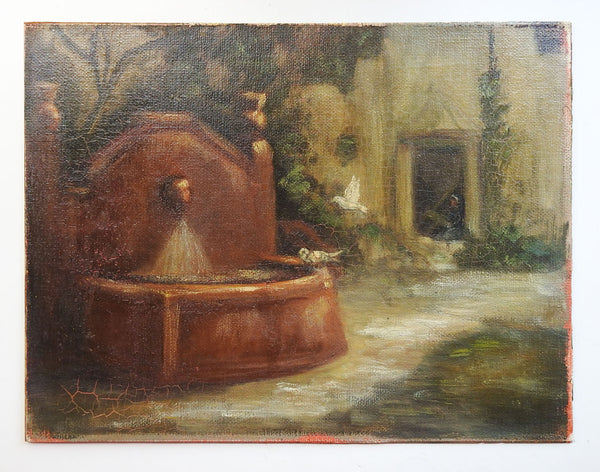 Courtyard Fountain & Birds Painting