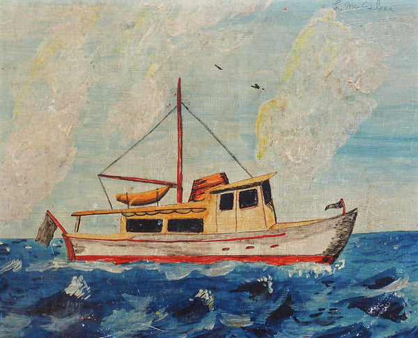Small Folk Art Fishing Boat Painting