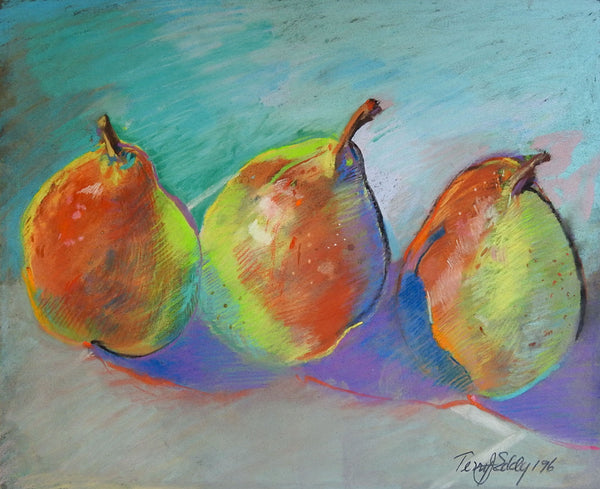 Pears Pastel Painting by Terry Eddy