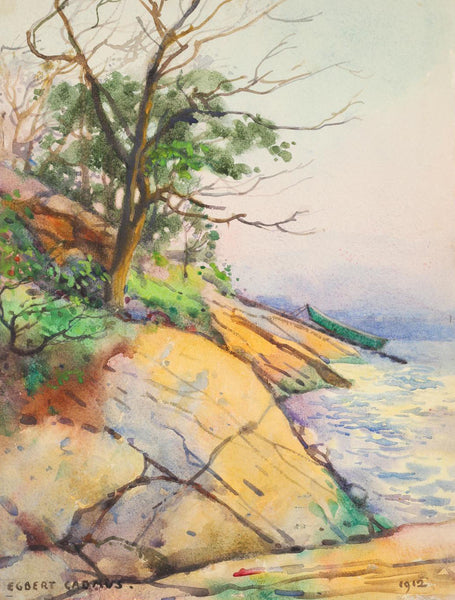 1912 Egbert Cadmus Rocky Cove Watercolor Painting