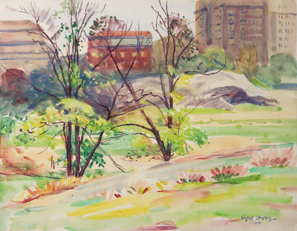 1924 Central Park New York Egbert Cadmus Watercolor Painting