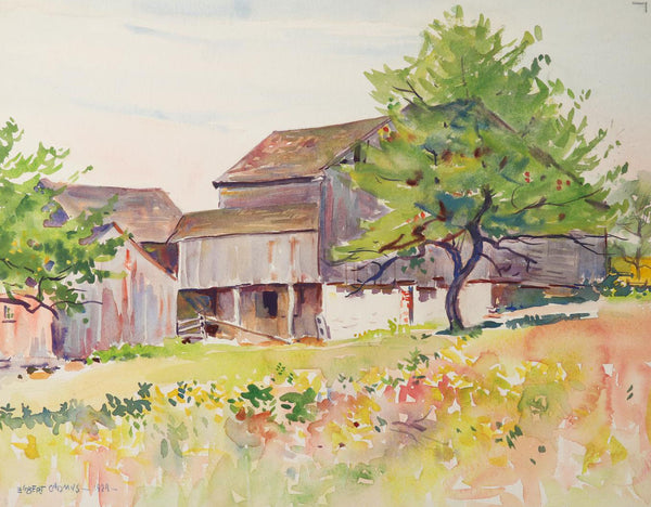 1924 New England Barn Watercolor Painting by  Egbert Cadmus