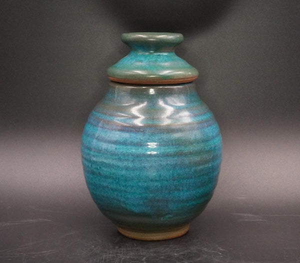 1977 Harding Black Turquoise Pottery Ginger Jar
