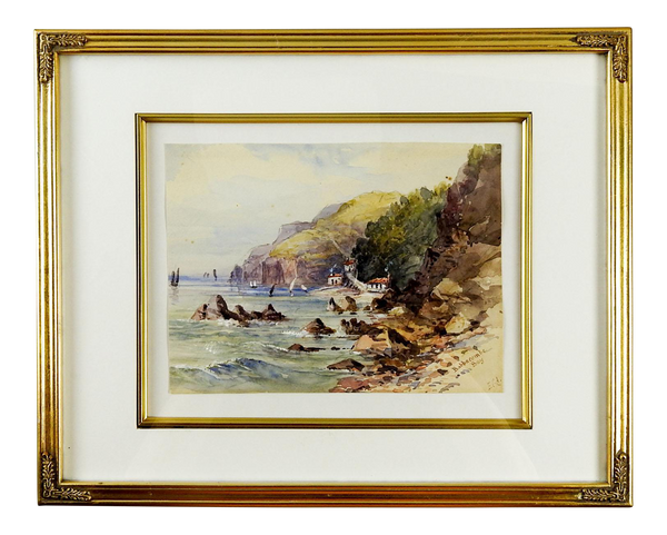 Babbacombe Bay England Antique Watercolor