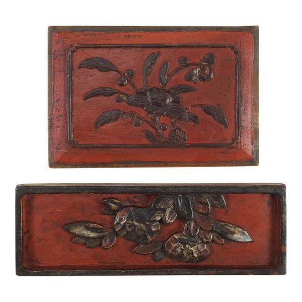 Carved Chinese Antique Panels Group of 2 Wall Plaques