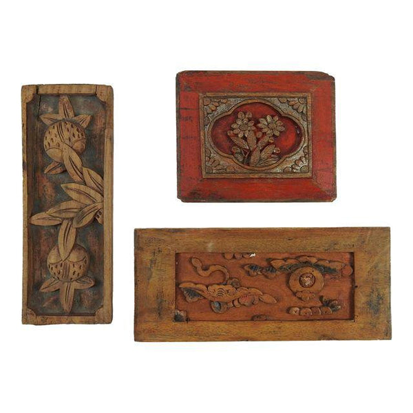 Collection of 3 Chinese Antique Carved Panels Wall Plaques