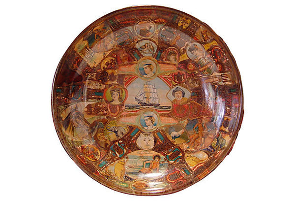 Intricate Vintage Decoupage Cigar Band Bowl