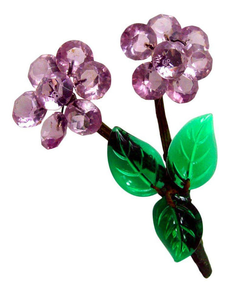 Vintage Cut Glass Floral Brooch