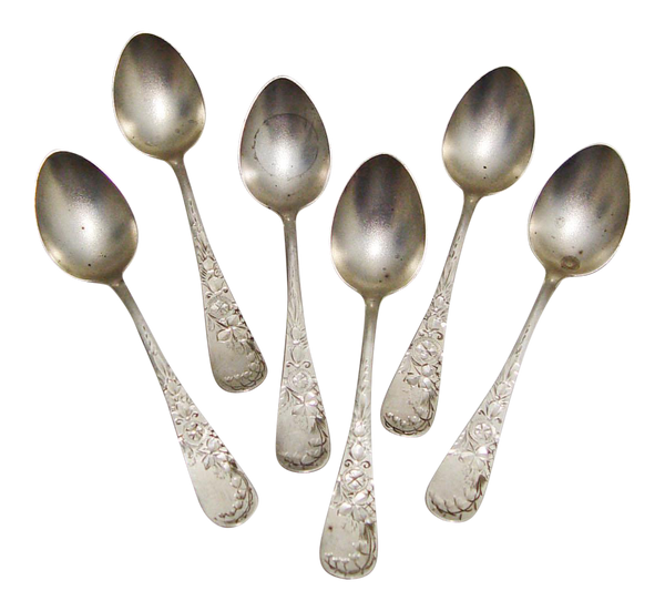 Sterling Silver Engraved Antique Demitasse Spoons- Set of 6