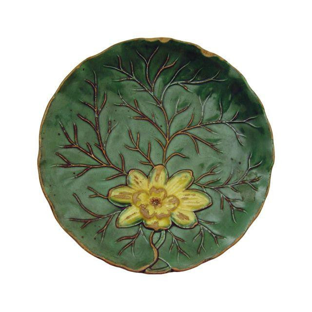 Vintage Majolica Plate With Water Lily