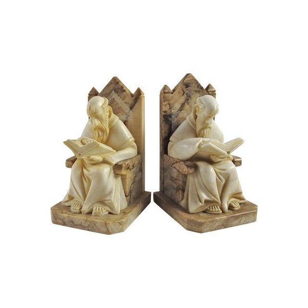 Antique Carved Marble Scholar Bookends - Artifax antiques & design