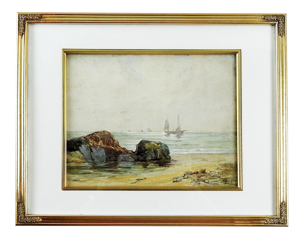 English Coastal Scene Watercolor Painting