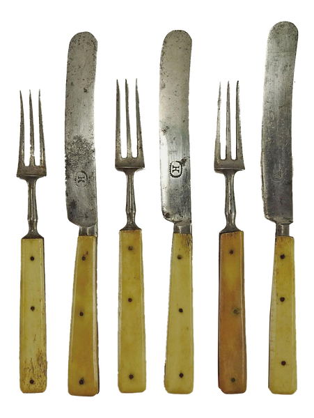 1860's Small Bone Handled Flatware - S/6