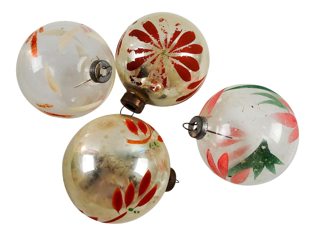 vintage silver clear hand painted christmas ornaments set