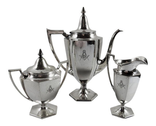 Masonic Engraved Silver Plate Tea Service - Set of 3