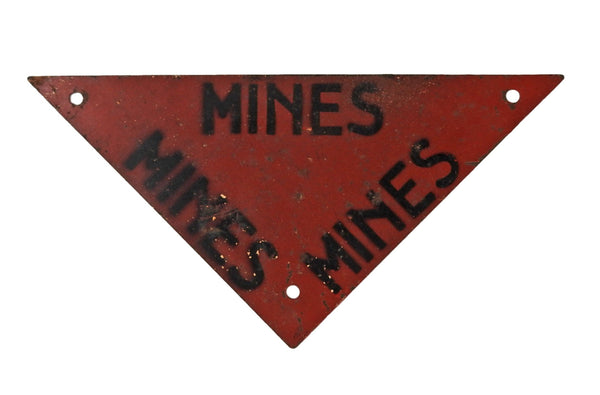 WWII Minefield Mine Vintage Military Warning Sign