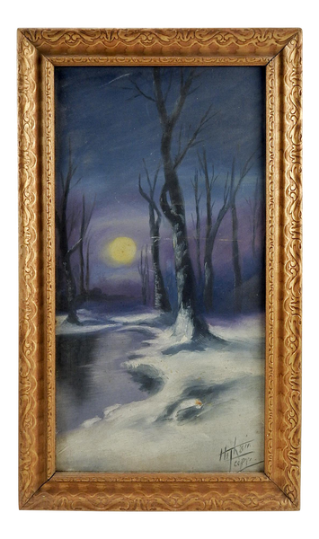 Vintage  Moonlight in Winter Oil Painting
