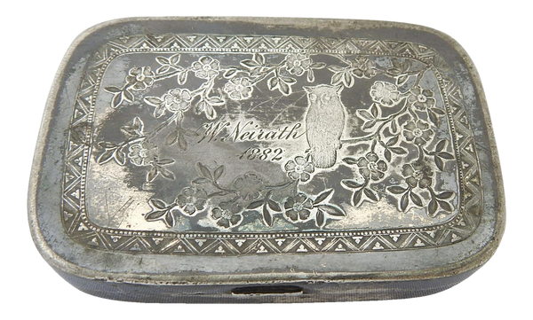 Antique Victorian Silver Plate Box With Owl