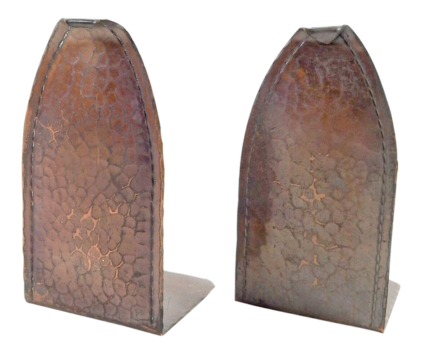 Roycroft Hammered Copper Bookends - A Pair