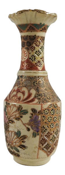 Satsuma Raised Enamel Vase