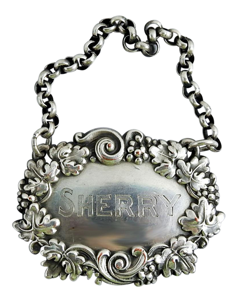 Silver Plate Sherry Vintage Hanging Liquor Tag