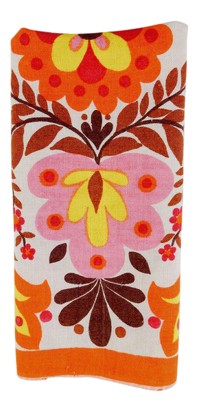 Boho Orange & Pink Vintage Linen Hand Towel