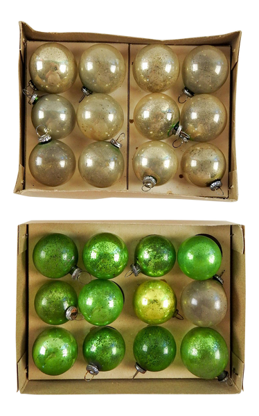Vintage Mini Green & Silver Christmas Ornaments - Set of 24